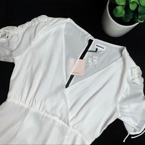 Superdown Revolve White Faux Wrap Mini Dress